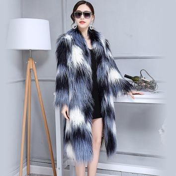 Women Fashion Gradient color Faux Fur Coat