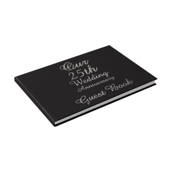 25th Wedding Anniversary Black Silver Typography Guest Book