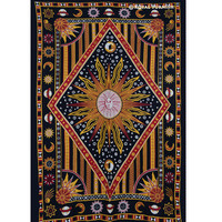 Twin Celestial Sun Moon Stars Hippie Cotton Tapestry Wall Hanging Bedding on RoyalFurnish.com
