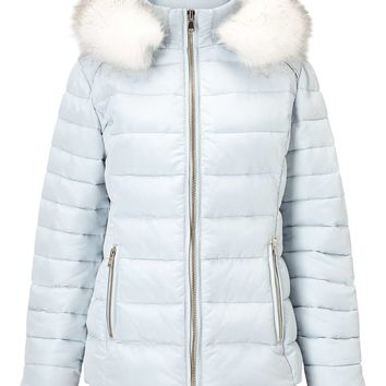 Pale Blue Quilted Puffer Coat | Missselfridge