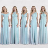 2016 New A Line Chiffon Long Bridesmaid Dresses Off the Shoulder Sleeveless Zip Back Pleat Light Blue Floor-Length Formal Gown