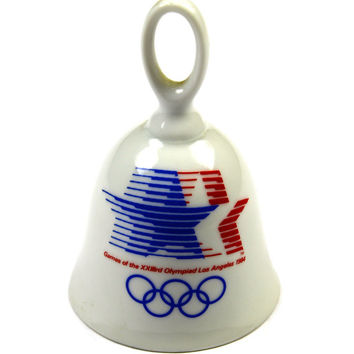 Vintage 1980s 80s 1984 Los Angeles Olympics Committee Papel Porcelin Souvenir Bell