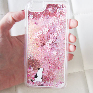 iPhone 6 case liquid glitter clear hipster cat sakura cherry blossom flowers star iridescent floating liquid waterfall quicksand phone case