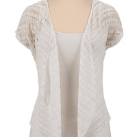 Open Stitch Cardiwrap With Hood - White
