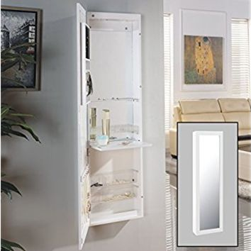Danya B Over the Door Jewelry / Makeup Full Size Cabinet Mirror with Interior Mirror and Drop Down Shelf