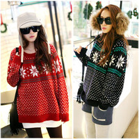 Womens Lady Snowflake Loose Sweater Coat Casual Round Neck Thicken Knit Pullover