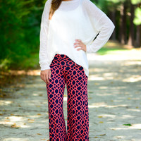 With You Palazzo Pants, Navy/Coral