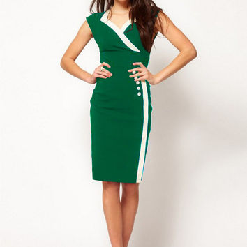 Green with White Trim and Button Accent Midi Pencil Dress
