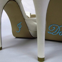 I Do Shoe Sticker for Bride in Blue Crystal Rhinestone Great for Wedding Photos - Script Font