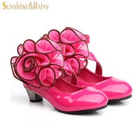 Summer Girl Sandals Peep Toe Aerobic Shoes Baby Dancing Shoes Big Rose Princess Party Shoes High Heel For Kids Freeshipping
