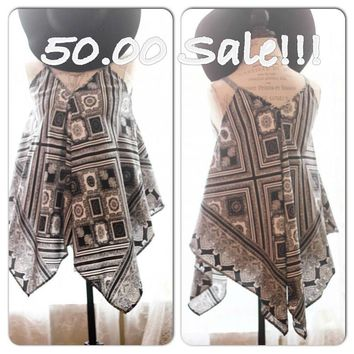 Clearance sale Hippie scarf tunic, boho hippie chic Festival top, Black white trend, Gypsy rose True rebel clothing