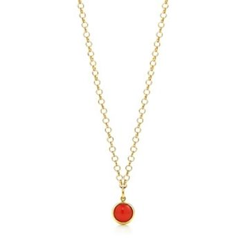 Tiffany & Co. -  Paloma Picasso® carnelian dot charm in 18k gold on a round link chain.