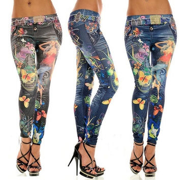 Women New Jeans Leggings Pants Tattoo Pattern Sexy Jeans Chic Sport Punk Pants [8833454412]