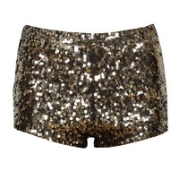 Gold Sequin Embellished Knicker Shorts in Black