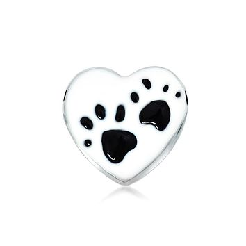 Heart Dog Cat Puppy Kitten Paw Print BFF Pet Lover Charm Bead Silver