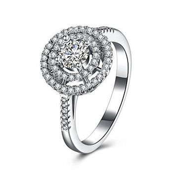 BALANSOHO Women Circle Wedding Ring Halo Engagement Bands with CZ in 925 Sterling Silver Size 8