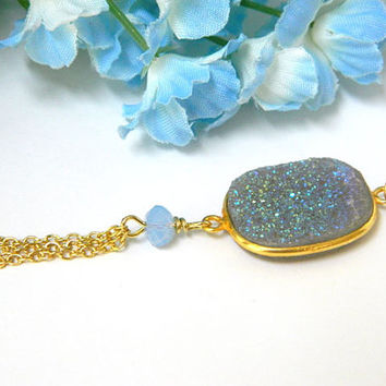 Druzy Necklace, Blue Necklace, Gemstone Necklace, Swarovski Crystal, Gold Chain, Handcrafted Necklace, Short Necklace, Chain Tassel, Unique