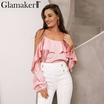 Glamaker Lace up ruffle women blouse shirt Sexy backless halter Women casual loose blouse shirt Elegant satin shirts tops tees