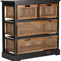 Jackson 4 Drawer Storage Unit Antique Black/Cane Drawers