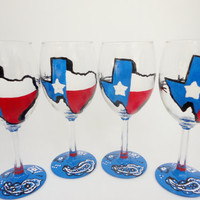 Texas, Wine Glasses, Red, Blue, Painted Wine Glasses, Hand Painted Wine Glasses, Gifts For Adults,  Painted Glassware, Bandanna, Texas Flag