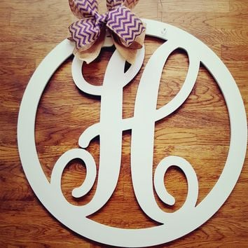 "23"" Script Circle Monogram Wooden Letter Door Hangers"