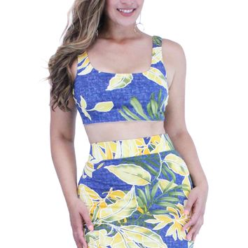 Yellow Floral Denim Print Round Neck Crop Top and High Rise Mini Skirt Set