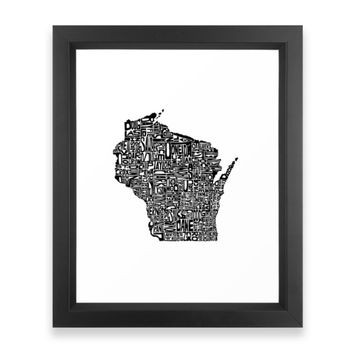 Society6 Typographic Wisconsin Framed Print