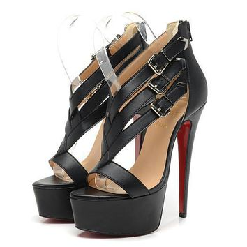 Christian Louboutin Fashion Edgy Crisscross Bandages Red Sole Heels Shoes