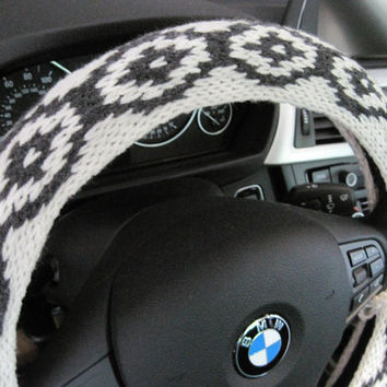 Knit Steering Wheel Cover/Cozy - aran/dark grey (KSWC6A)