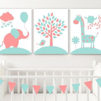 CORAL AQUA Nursery Wall Art, CANVAS or Print Baby Girl Animal Nursery Decor Elephant Giraffe Tree Jungle Safari Animals Set of 3 Crib Decor