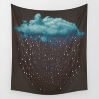 Black Raining Cloud Wall Hanging Tapestry
