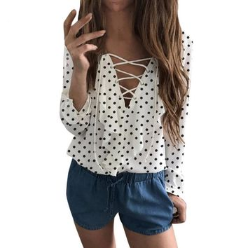 Spring Cross Front Blouse Women Ladies Long Sleeve Loose Blouse Polka Dot V Neck Chiffon Ruffle Blouse Shirt Tops