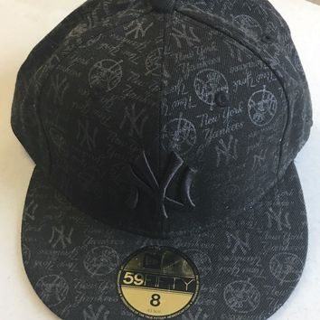NEW ERA RETRO NEW YORK YANKEES BLACK ALL OVER LOGOS 5950 FLAT BRIM FITTED HAT