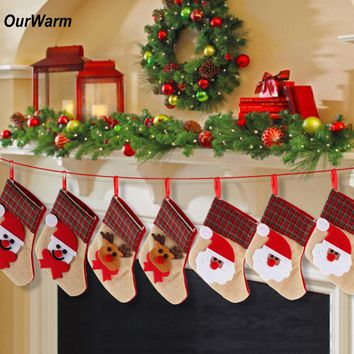 OurWarm 4pcs Christmas Stocking Socks Burlap Santa Claus Candy Gift Holders Xmas Tree Hanging Ornament Decoration New Year Gifts