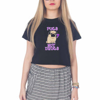 Pugs Not Drugs Funny For Womens Crop Shirt **