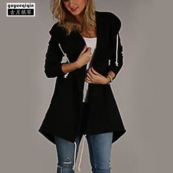 New Style Pockets Zip Up Hoodies Women Solid Color Hooded Sweatshirts Famale Draw Cord Hoodies Poleron Mujer Plus Size XL