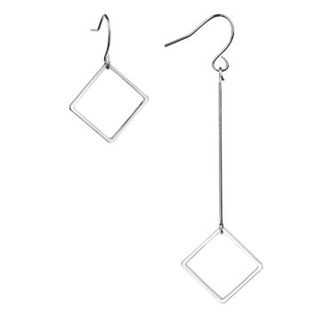 BodyJ4You Asymmetric Drop Earrings Silvertone Women Dangle Square Mismatched Ear Piercing Jewelry