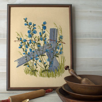 Farmhouse Fence Floral Crewel Embroidery, Weathered Wood Fence Fiber Art, Vintage Floral Embroidery