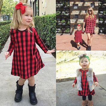 Girl Dress Casual Kids Baby Girls Child Red Plaid Dresses Checked Party Princess Formal Dresses Children Clothing 1-6Y
