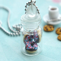 chocolate donuts in a jar necklace