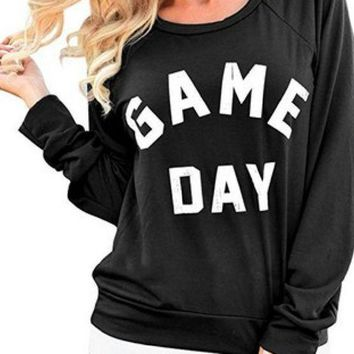 PEAPJ1A Sweater English letters crew neck sweater GAME DAY