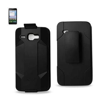 Alcatel One Touch Sonic Lte 3-In-1 Hybrid Heavy Duty Holster Combo Case (Black)