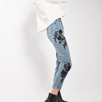 MOTO Floral Embroidered Mom Jeans | Topshop