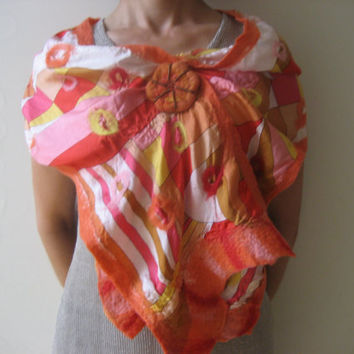 SALE Halloween Nuno Felted Scarf Shawl Wrap with pumpkin brooch: Orange, Red, Yellow, Rose, White, Wool, Silk. OOAK.