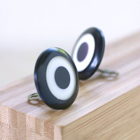 Vintage Lucite Clip-On Earrings Statement Jewelry Black White Target Motif