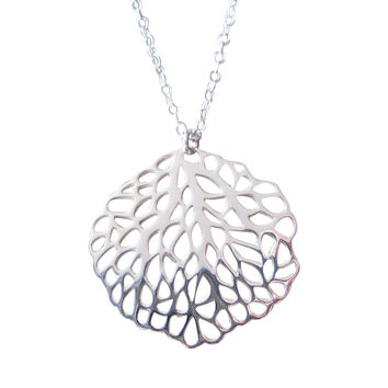 Silver Sea Fan Coral Pendant Necklace