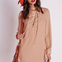 Missguided - Lace Up Shirt Dress Nude