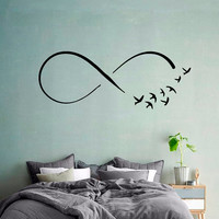Wall Decals Infinity Symbol Birds Sign Of Freedom Home Vinyl Decal Sticker Kids Nursery Baby Room Decor kk623