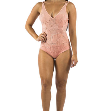 Peach Body Suit with Open Back and Embroidery Detail