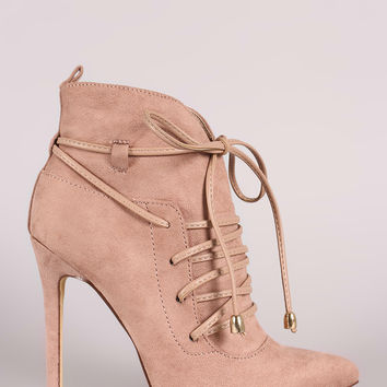 Suede Pointy Toe Lace-Up Stiletto Ankle Boots